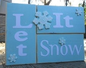 Winter Blue Snow Word Blocks Decoupage Let It Snow
