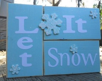 Winter, Blue, Snow, Word Blocks, Decoupage, Let It Snow