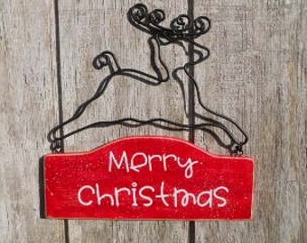 Christmas, Reindeer, Red, Sign, Merry Christmas with Iron Works