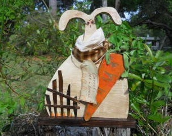 Easter Spring Primitive Farmer Cottontail
