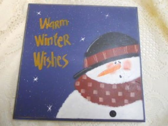 Snowman, Winter, Sign, Blue, Warm Winter Wishes