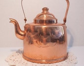 Copper Tea Pot, Vintage Copper Tea Kettle, Copper Kettle
