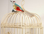Vintage Bird Cage, Metal Birdcage, Shabby Chic Off White Decor