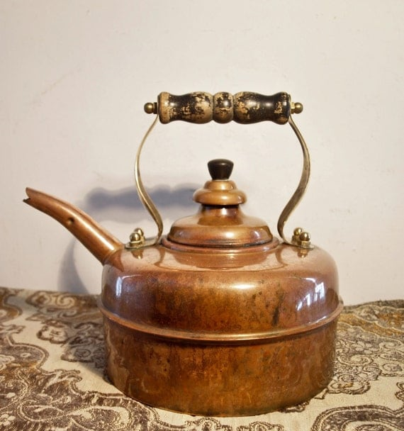 Antique Solid Copper Tea Kettle By Simplex Of London By