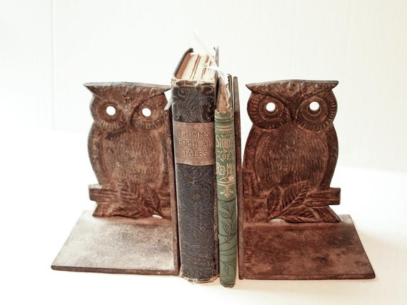 Antique Rustic Owl Bookends Solid Iron By Artinboxes On Etsy