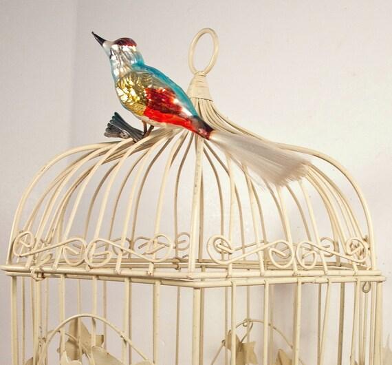 Vintage Bird Cage, Metal Birdcage, Shabby Chic Off White Decor