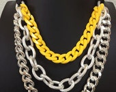 Neon Yellow Silver Chunky Chain Necklace