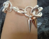 Big Mama Silver Chunky Chain Link Bracelet with Two Tone, Silver and Rose Gold Spikes
