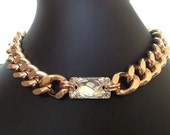 Sparks, Chunky Champagne Gold Chain Necklace with Large Swarovski Crystal
