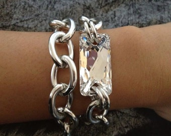 Moonbeam, Mini Chunky Silver Bracelet with Swarovski Crystal AB cut