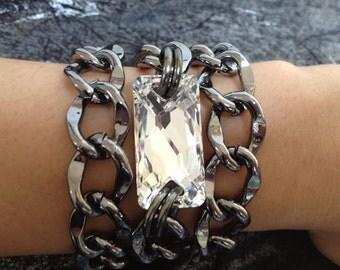 Surfer Girl, Triple Wrap Chunky Gunmetal Chain Bracelet with Swarovski Crystal