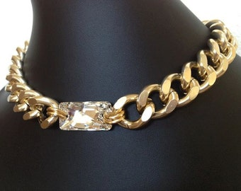 Sparks, Chunky Gold Chain Necklace with Large Swarovski Crystal