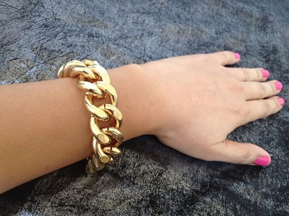 Limited Stock, Freedom, Chunky Single Gold Chain Link Bracelet, 18K Gold plated