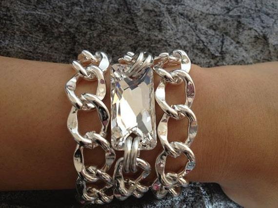 Last One,  Surfer Girl, Triple Wrap Chunky Silver Chain Link Bracelet with Swarovski Crystal