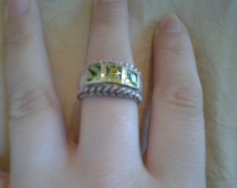 Square Cut Peridot, Gold and Sterling Silver Ring with Braided Rope Border