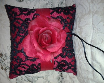 Parisian Chic Moulin Rouge Throw Ring Bearer Pillow w/Lace and Rose Center