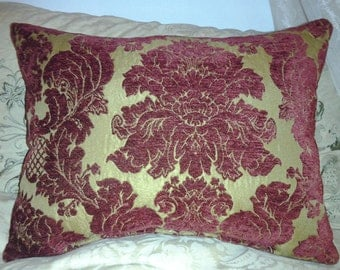 Parisian Chic Gold and Ruby Damask Chenille Throw Pillow