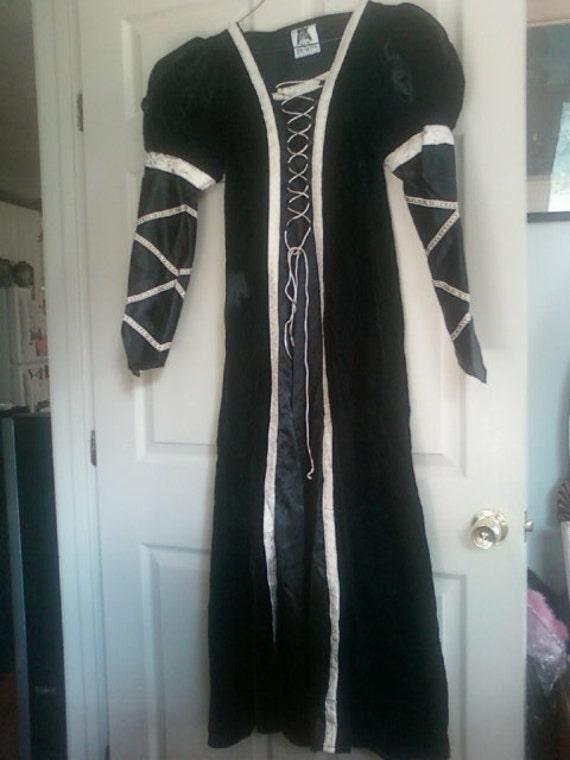 Romantic Cinderella Renaissance Velvet Gown with Satin Princess Sleeves