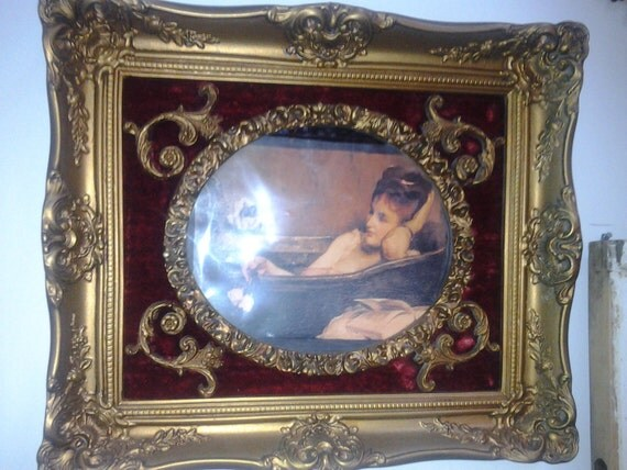 Victorian Romance Crushed Velvet & Gilded Frame w/1800s Risque Belle Bathing