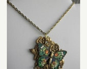 50% OFF SALE Art Nouveau Emerald Butterfly Necklace Vintage Repurposed One of a Kind Fall Fashion Elegant Classic Statement Reclaim Holiday