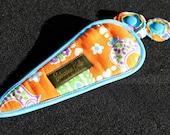 ADORABLE Handmade Scissor Covers with Scissor Charm -- Orange Vintage Fabric with Azurite Blue Accent