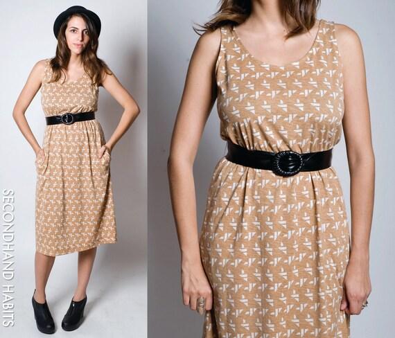 Vtg 1970's Geometric Print Tank Dress