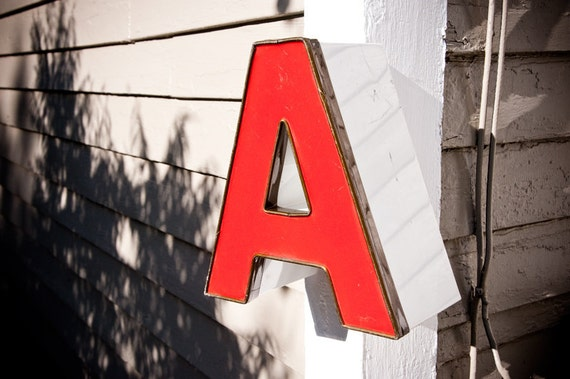 Small Vintage Metal Sign Letter, Capital A