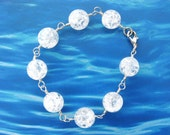 Handmade - Stunning Rock Crystal Crackle Beads Wire Wrapped in Sterling Silver