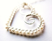 SALE! 20% OFF! Romantic Sterling Silver Wire Wrapped Heart with Freshwater Seed Pearls Necklace, Wedding Jewelry