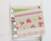 strawberry and check double side printed linen cotton blended half yard (29 x 35 inches) 14819