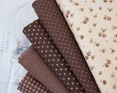 Fat Quarter brown cotton bundle  (5EA) 21934