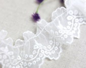 embroidered ruffle mesh lace 1yard (width 4cm) 35869