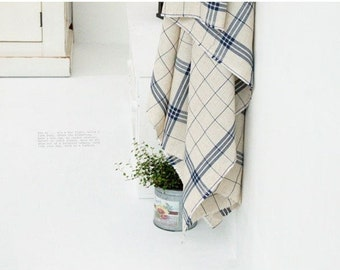 check linen cotton (navy) 1yard (44 x 36 inches) 7003