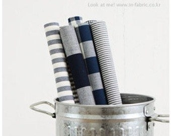 Yarn Dyed Navy Cotton By the yard (width 44 inches) 14950 Solid / Gingham Check / Striped