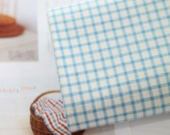 wide sweet check linen cotton blended 1yard (59 x 36 inches) 17703 baby blue