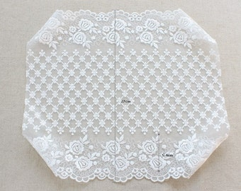 1yard wide embroidered mesh lace  (width 27 cm) white 23199