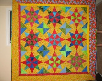 Spicy Stars bright lap, baby, or wall quilt