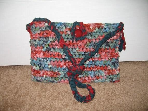 Crocheted cotton hippie handbag