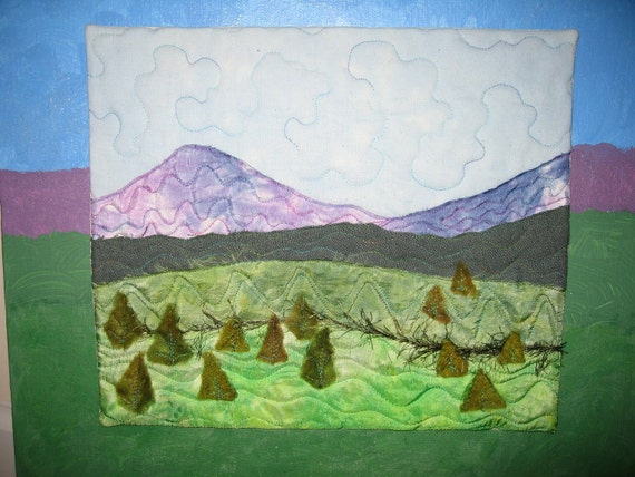 Mountain scenery -- Quilt on canvas