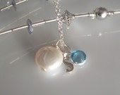 Silver Initial Birthstone Coin Pearl Necklace