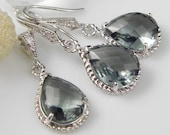 Gray Silver Teardrop Czech Glass Crystal Necklace and Earring Set Bridesmaids Jewelry, Bridal Jewelry REF-601 - LaBelleGem