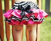 Zebra and Hot Pink Ruffle Bottom Bloomers