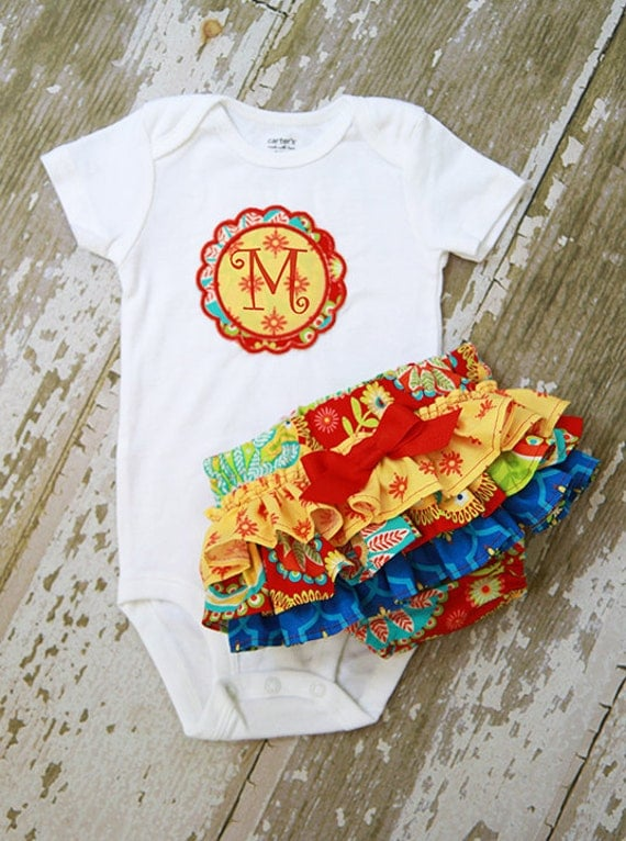 Gypsy Bandana Ruffle Bottom Bloomers and Matching Applique Onesie short or long sleeve