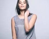 50% off SALE-  Flower crochet top- grey