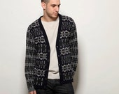 Navy Sweatshirt, patterned cardigan, blue jumper, mens sweater, jacquard knit cardigan, buttoned down sweater, v neck