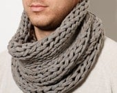Men hand knitted  loop scarf