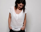 White knitted woman blouse, round neck, knitted women white tunic with shell buttons
