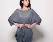 Oversized soft silk tunic ,womens basic grey knitted top