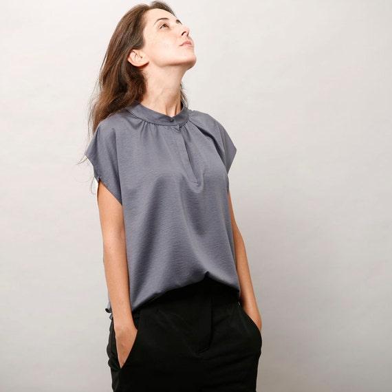 Sale 60 Off Womens Silk Blouse Blue