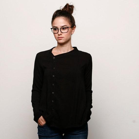 Buttoned black asymmetric women blouse